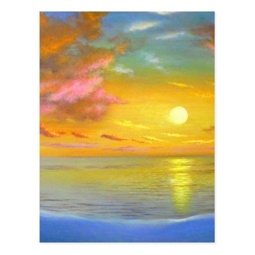 Sunset View Seascape Landscape Painting - Multi Postcard