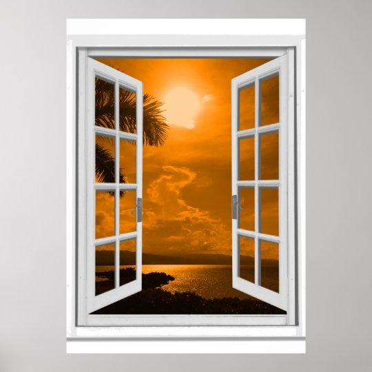 Sunset View Trompe l'oeil Fake Window Poster
