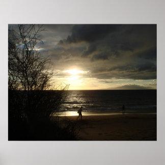 Sunset Walk on the Beach Print