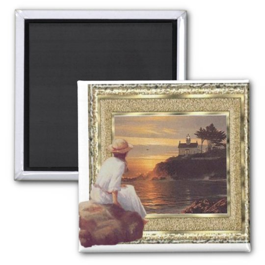 Sunset watcher square magnet