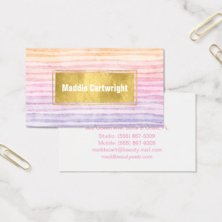 Sunset Watercolor Stripes Business Card
