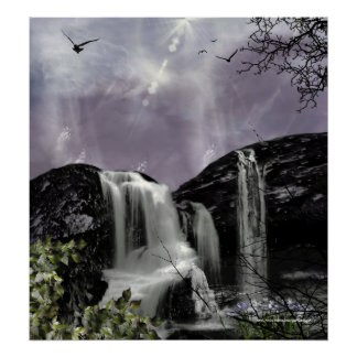 Sunset Waterfall Gothic Landscape fantasy Print
