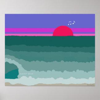Sunset Wave original digital painting Poster