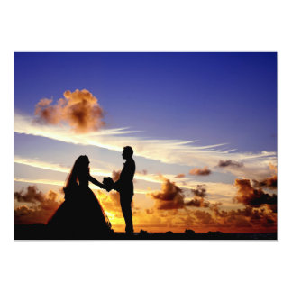 Sunset Wedding Couple 13 Cm X 18 Cm Invitation Card