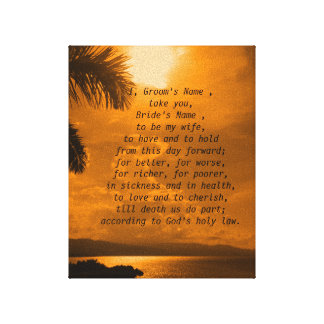 Sunset Wedding Vows Print Stretched Canvas Print
