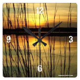 Sunset weed lake clock