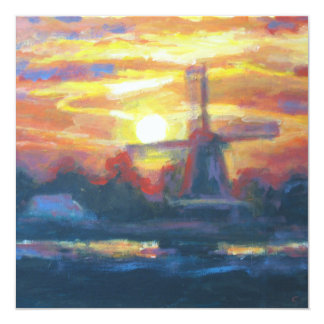 Sunset Windmill Painting 13 Cm X 13 Cm Square Invitation Card