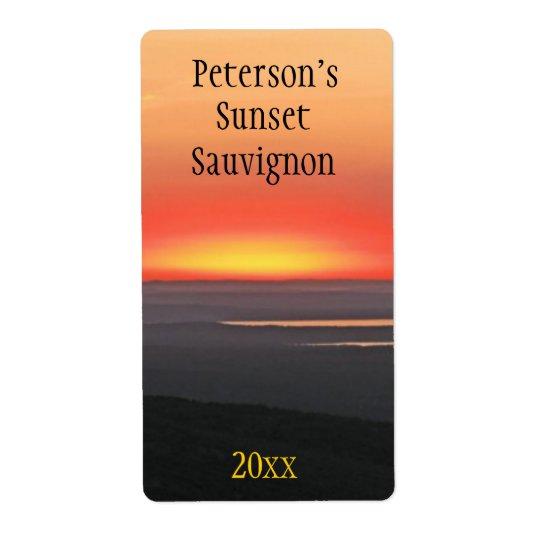 Sunset Wine Label Shipping Label