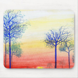 Sunset with Blue Trees Mouse Mat