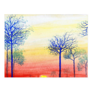 Sunset with Blue Trees Postcard