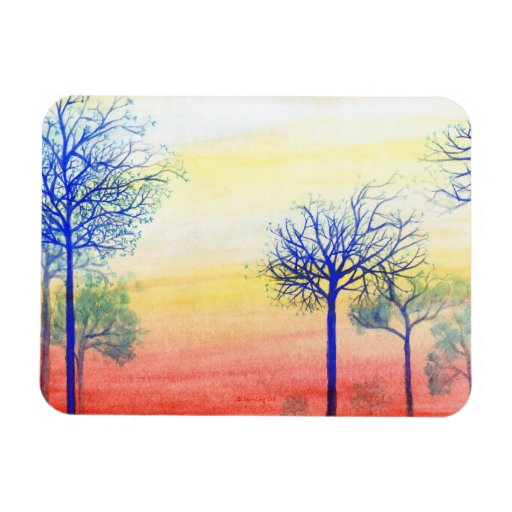 Sunset with Blue Trees Magnet