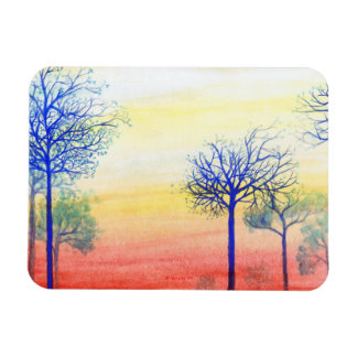 Sunset with Blue Trees Rectangular Photo Magnet
