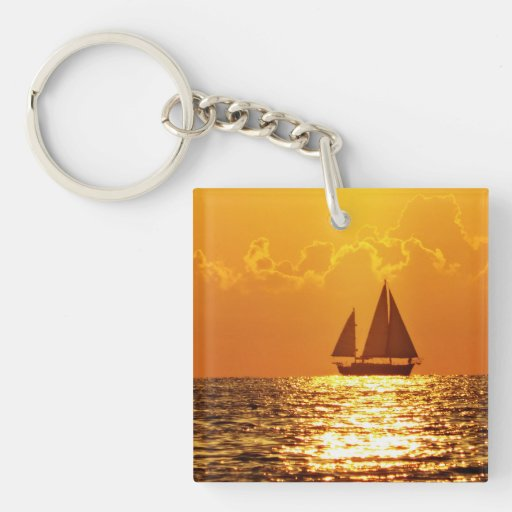 Sunset with Boat Acrylic Key Chain