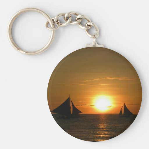 Sunset with Boat Keychain