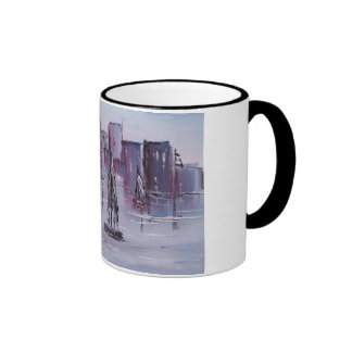 Sunset with Boats Ringer Mug
