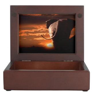 Sunset with Elephant Keepsake Boxes