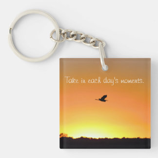 Sunset with Heron and Saying Key Ring