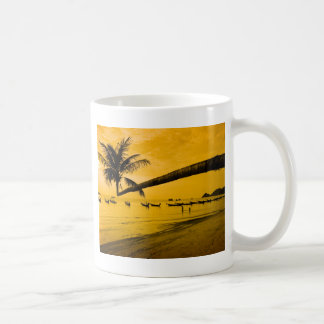 Sunset with palm and boats on tropical beach mugs