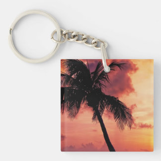 Sunset with Palm Double-Sided Square Acrylic Keychain