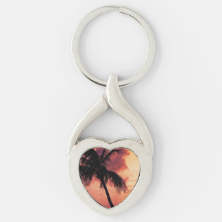 Sunset with Palm Silver-Colored Heart-Shaped Metal Keychain