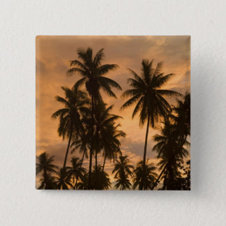 Sunset with Palm Trees, Moorea, French Polynesia 15 Cm Square Badge