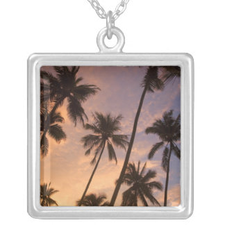 Sunset with Palm Trees, Moorea, French Polynesia 2 Silver Plated Necklace