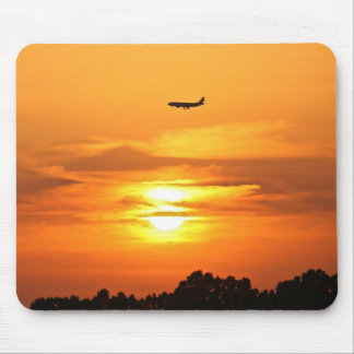 Sunset with Plane Mouse Mat
