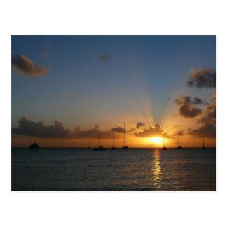 Sunset with Sailboats Postcard