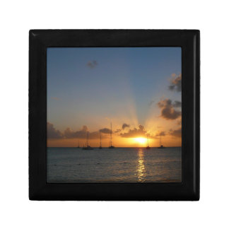Sunset with Sailboats Tropical Landscape Photo Gift Box