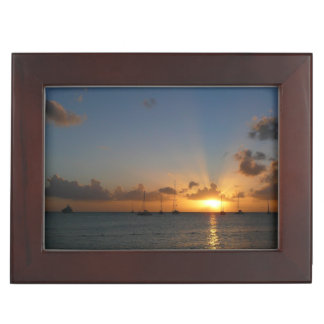 Sunset with Sailboats Tropical Landscape Photo Keepsake Box