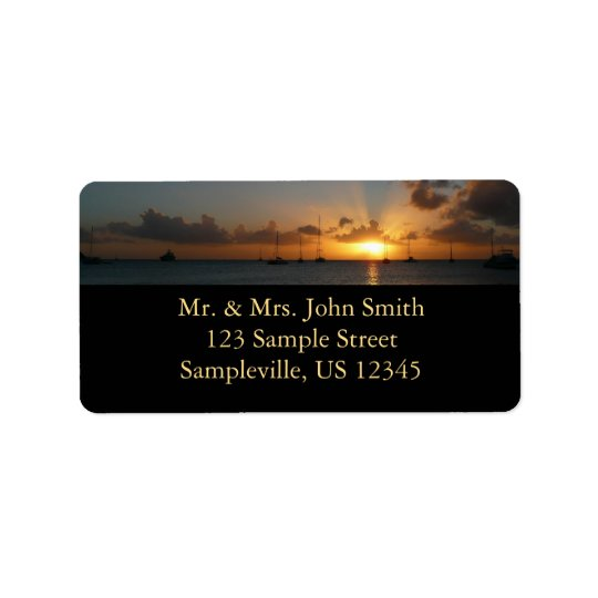 Sunset with Sailboats Tropical Landscape Photo Label