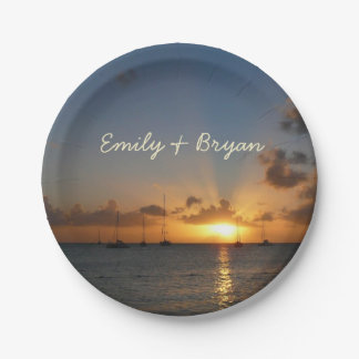 Sunset with Sailboats Tropical Landscape Photo Paper Plate