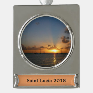 Sunset with Sailboats Tropical Landscape Photo Silver Plated Banner Ornament