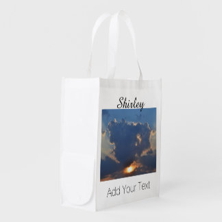 Sunset With Teacup Cloud Formation Reusable Grocery Bags