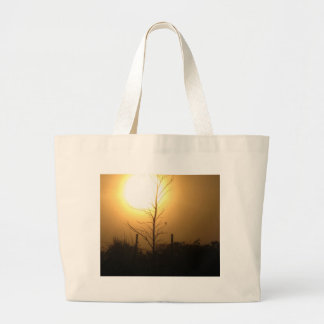 Sunset with Tree Silhouette Tote Bags