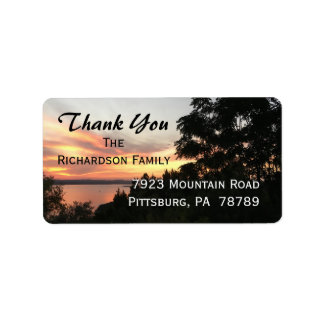 Sunset with Tree Sympathy Thank You Label
