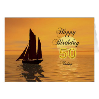 Sunset yacht 50th birthday card