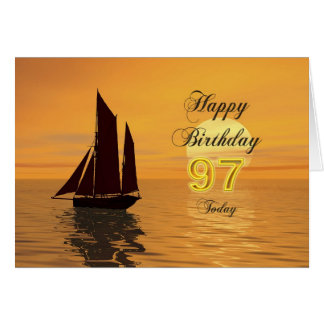 Sunset yacht 97th birthday card