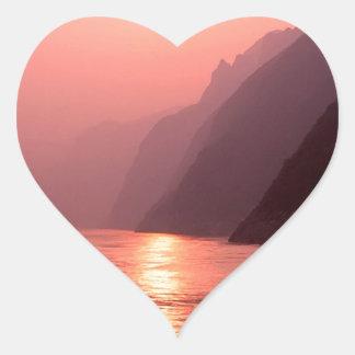 Sunset Yangtze River China Heart Sticker