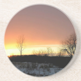 Sunset Yellow Glow Cold Night Drink Coaster