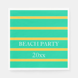 Sunset Yellow Stripes on Beach Green Personalized Disposable Serviette