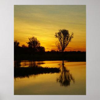 Sunset Yellow Water Billabong 3 Print