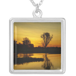 Sunset, Yellow Water Billabong 3 Silver Plated Necklace