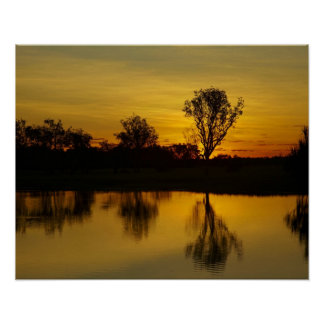 Sunset, Yellow Water Billabong Poster
