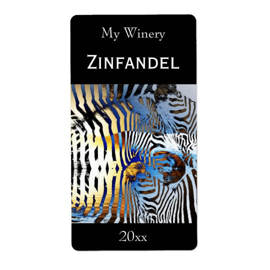 Sunset zebra abstract wine bottle label shipping label