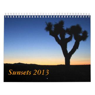 Sunsets 2013 calendars