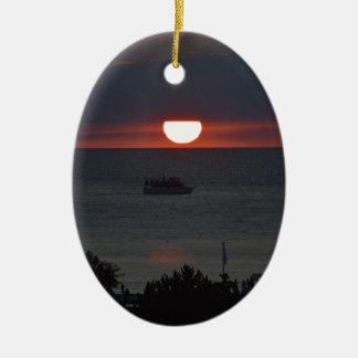 Sunsetting over Lake Michigan Ceramic Oval Decoration