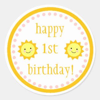 Sunshine 1st Birthday Classic Round Sticker