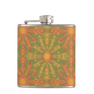 """""""Sunshine"""" abstract pattern in orange and yelllow Flask"""