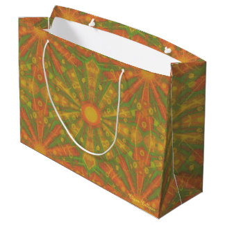 """""""Sunshine"""" abstract pattern in orange and yelllow Large Gift Bag"""